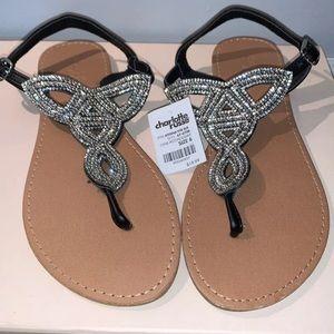 NEW Black sparkle Sandals size 6